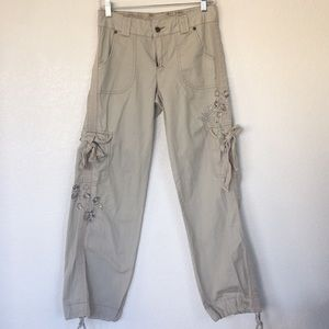 Xhilaration Khaki cargo pants with decals! Size 3